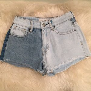 Multi-colored denim shorts